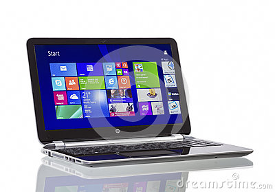 Windows 8.1 on HP Pavilion  Ultrabook Editorial Stock Image