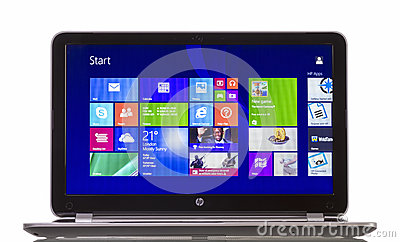 Windows 8.1 on HP Pavilion  Ultrabook Editorial Stock Photo