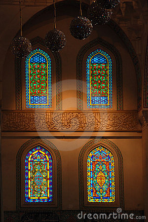 Windows of the kocatepe mosque