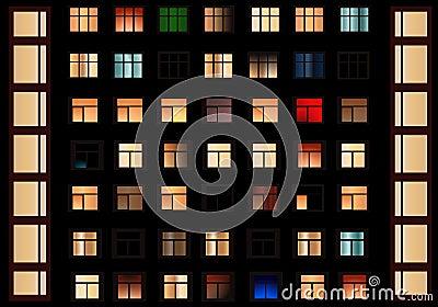 Windows at night, cdr vector