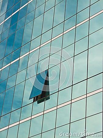 Windows of office buildings.