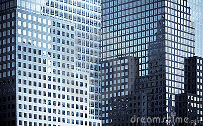 Windows of office buildings