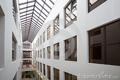 The windows of offices in modern beautiful Business Center Smirnovsky Editorial Photo