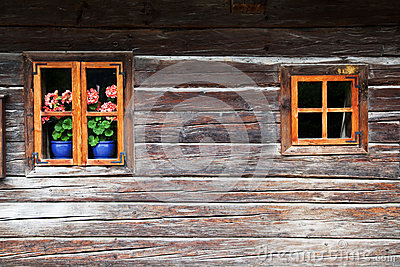 Windows in an old block house