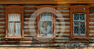 Windows in an old wooden house