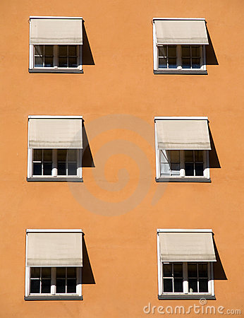 Windows with shades