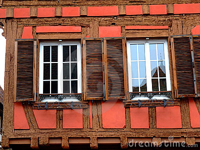 Windows of typical half timbered house in Alsace