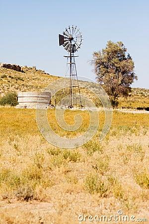 Windpump and dam in the Kalahari desert