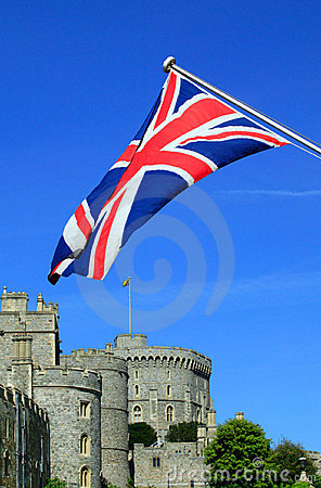 Windsor Castle with a Union Jack flag
