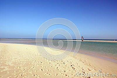 Windsurfer and amazing beach