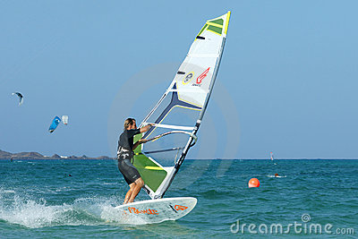 Windsurfer making duck jibe Editorial Image