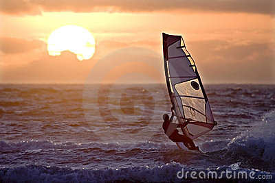 Windsurfer sailing sunset