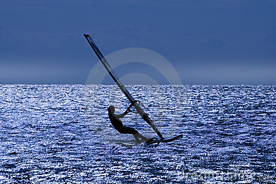 WINDSURFER after sunset.