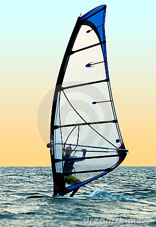 Windsurfer on waves