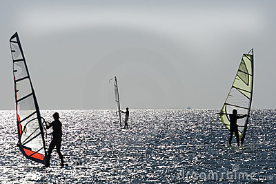 Windsurfers on aegean sea