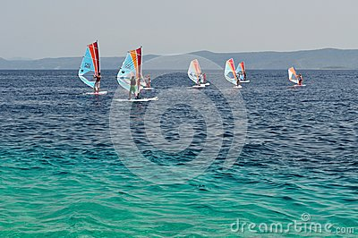 Windsurfing on beach Zlatni rat (Golden Cape). Cro Editorial Stock Image