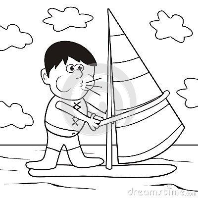 Windsurfing-coloring book