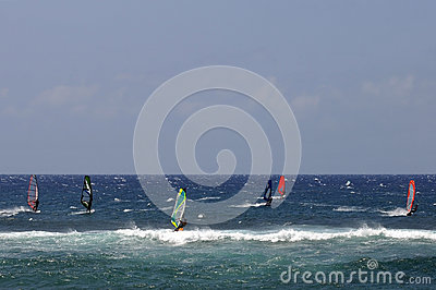 Windsurfing At Hookipa Beach Park, Maui, Hawaii