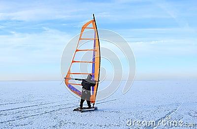 Windsurfing on sea ice