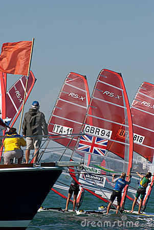 Windsurfing start from the Committee Boat Editorial Photography