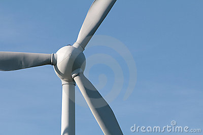 Windturbine and beautiful clear blue sky