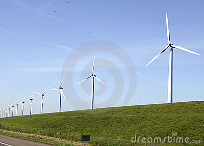 Windturbines on a dike