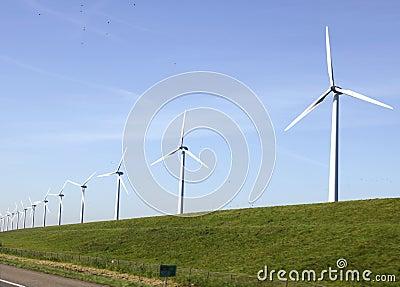 Windturbines on a dike