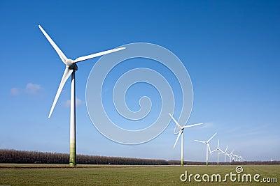 Windturbines of Flevoland, the Netherlands