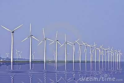 Windturbines at the IJsselmeer in Holland