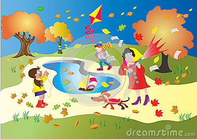 Windy Day In The Park Stock Vector - Image: 45263339