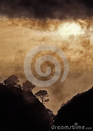 Free Windy Sunset With Clouds On The Mountain. Stock Photos - 104145613