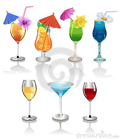 Wine and alcoholic cocktails