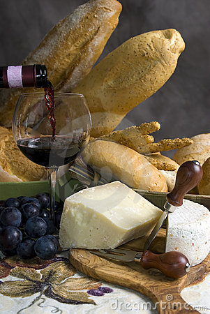 Free Wine And Bread With A Glass Of Wine 1 Stock Photo - 1242920