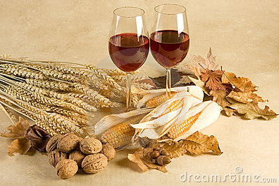 Wine in autumn decor