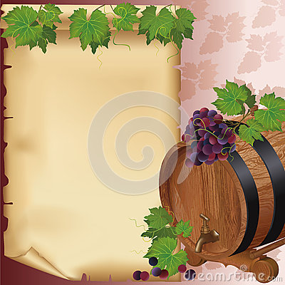 Wine background with grape, barrel and paper