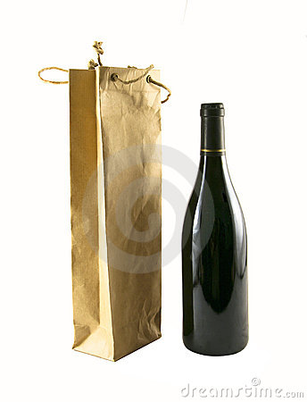 Free Wine Bag And A Bottle Of Wine Royalty Free Stock Photo - 2170005