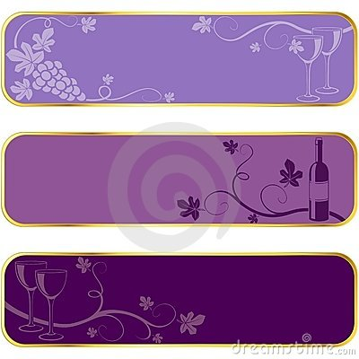 Wine banners with gold rim