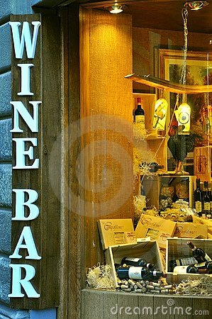 Wine bar sign in Florence, Italy  Editorial Photo