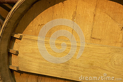 Wine barrel detail in an aging process