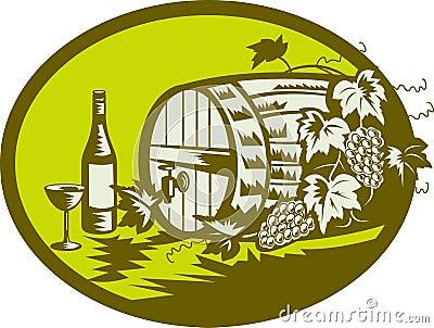 Wine barrel ith grape vine fruit
