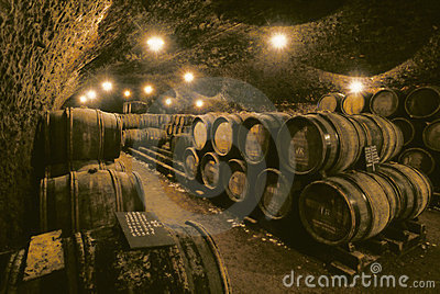 Wine barrels in cave