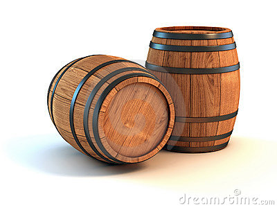 Wine barrels over white background