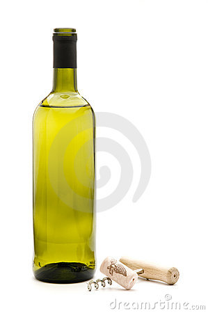 Free Wine Bottle And Corkscrew Stock Photography - 12545912