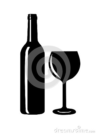 Free Wine Bottle And Glass Silhouette. Stock Photography - 33362612