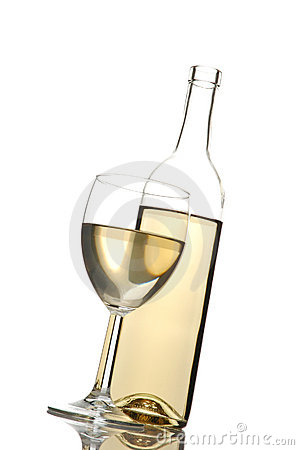 Free Wine Bottle And Glass Tilted Royalty Free Stock Photo - 4453755