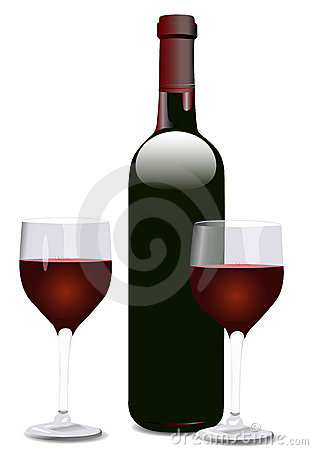 Free Wine Bottle And Two Glasses Stock Images - 1680204
