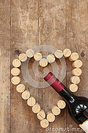 Free Wine Bottle And Wine Cork Heart Stock Photos - 41260663