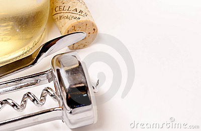 Wine bottle, cork and corkscrew