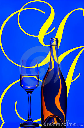 Wine bottle and glass abstract