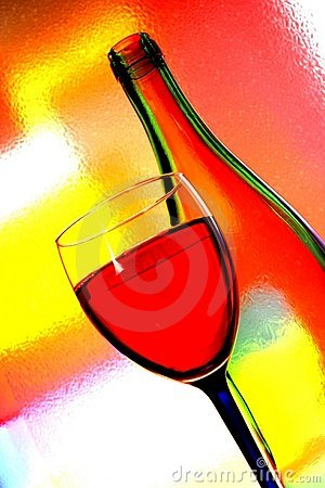 Free Wine Bottle & Glass Abstract Stock Image - 5055981